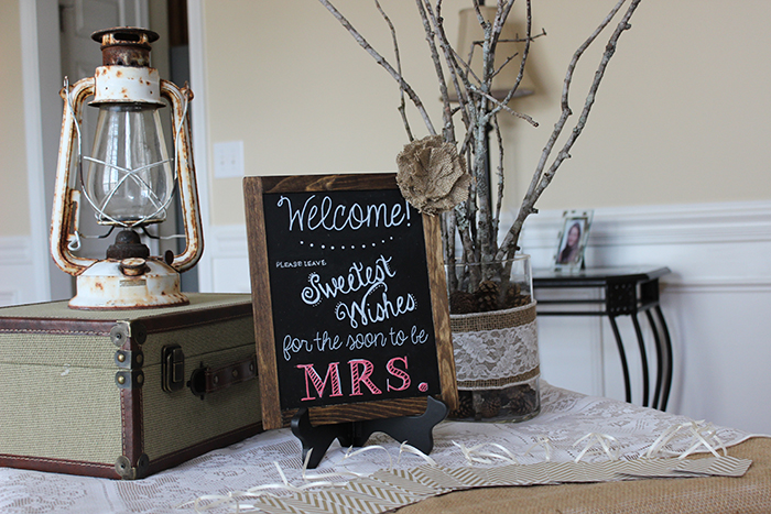 rustic bridal shower chalkboard art