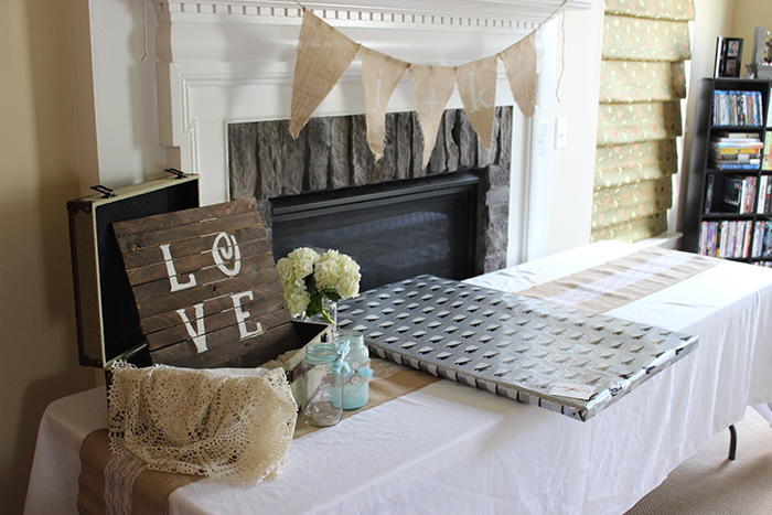 rustic bridal shower gift table