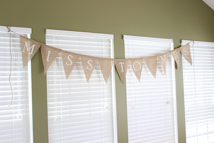 burlap bridal shower banner