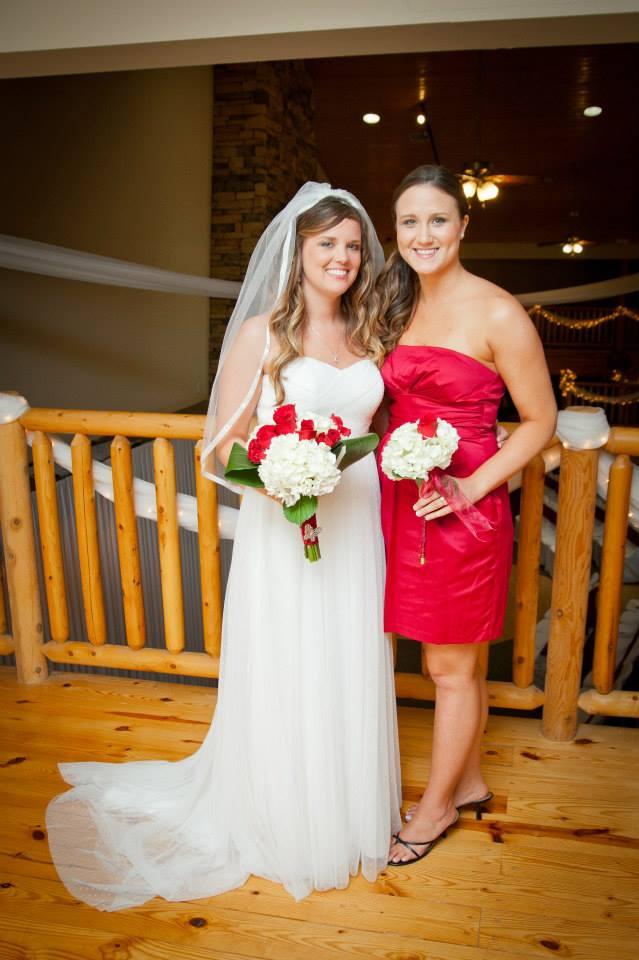 garnet and black bridesmaid