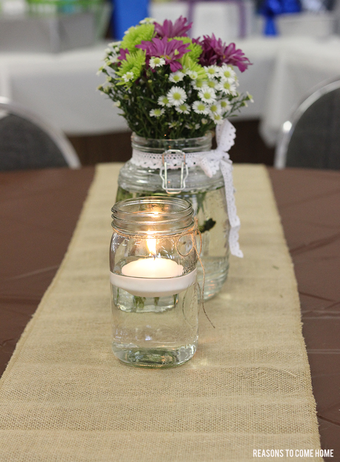 burlap and lace centerpiece