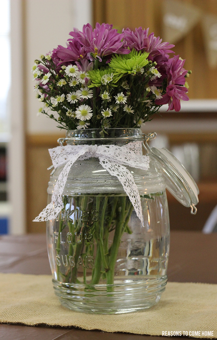 burlap and lace shower centerpiece