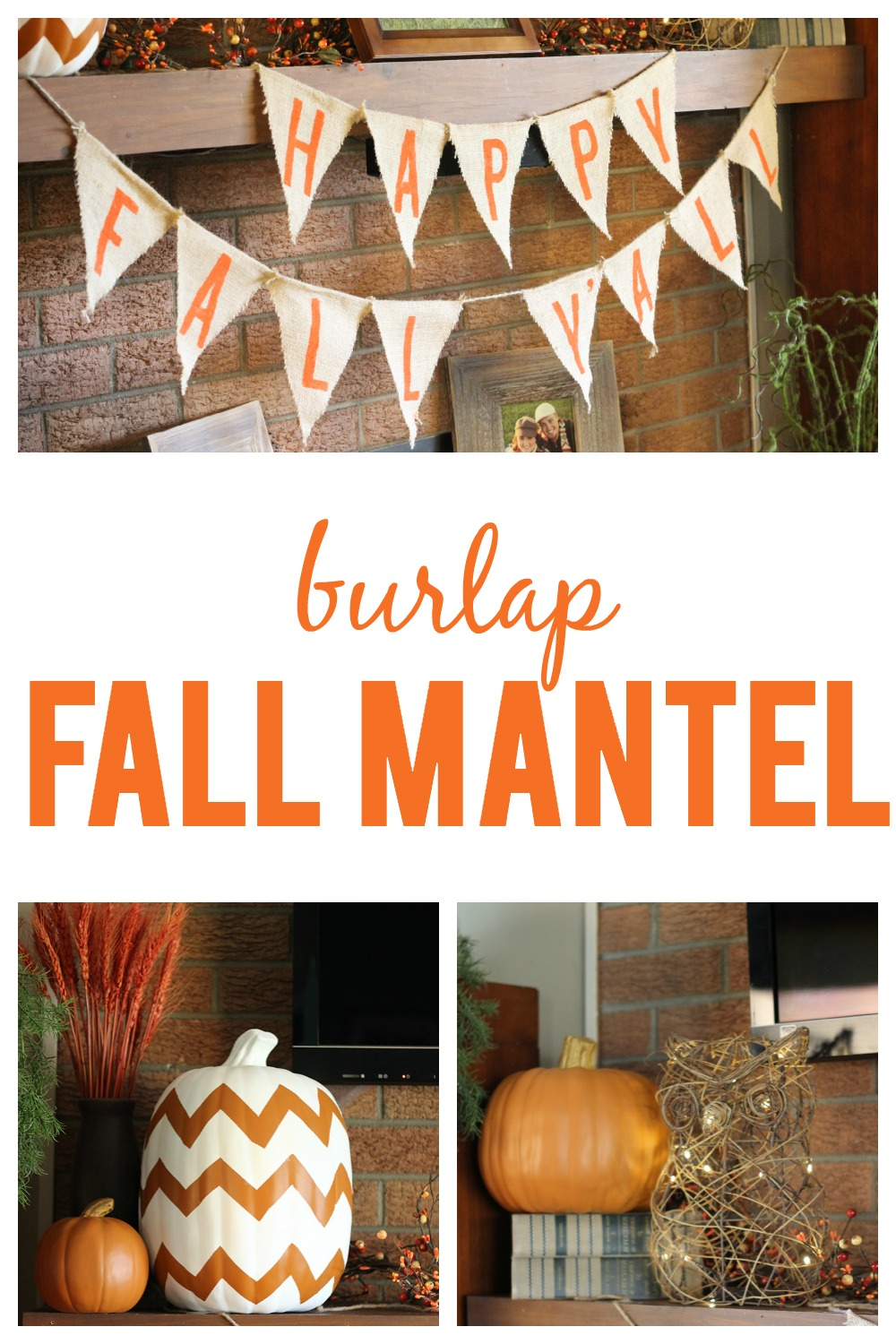 Burlap Fall Mantel