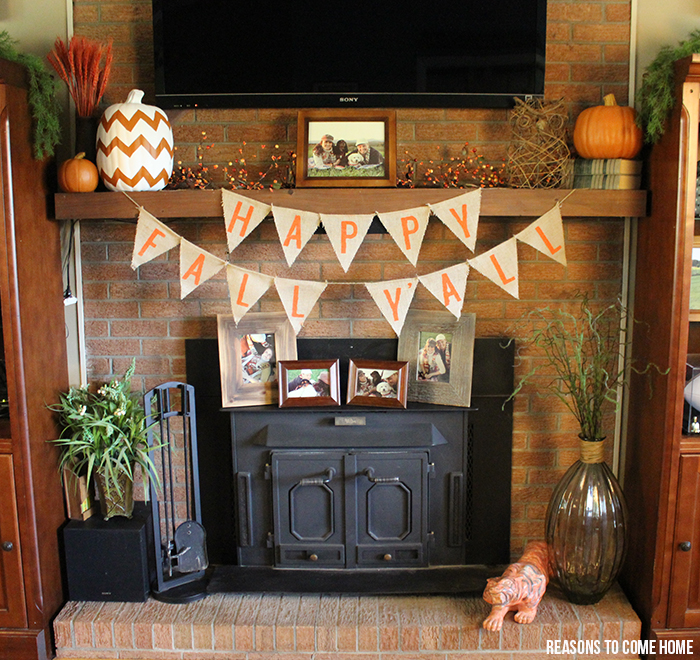 burlap mantle decorations