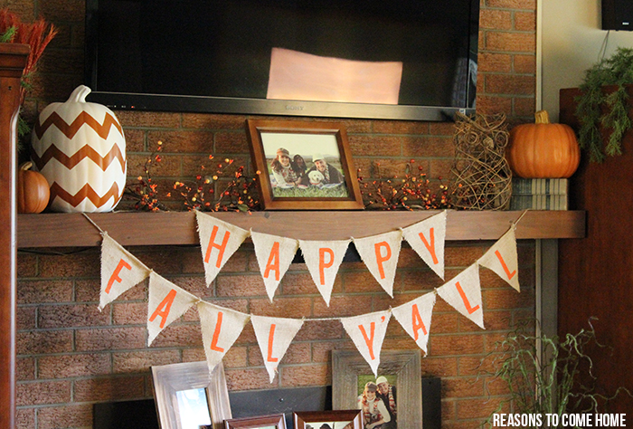 burlap mantel ideas