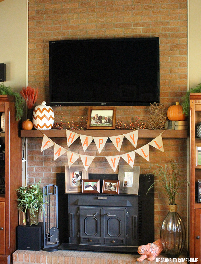 burlap fall mantel banner