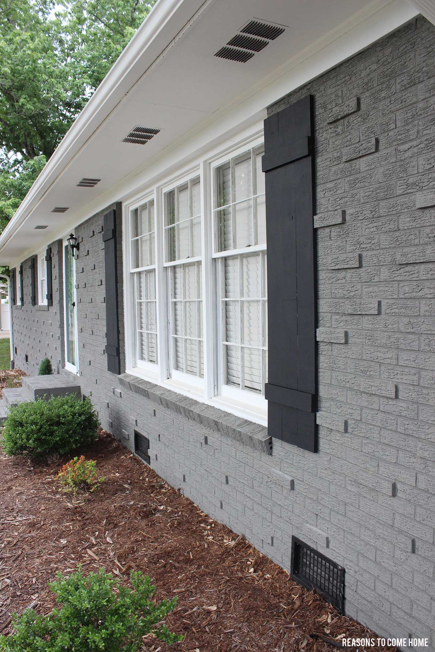 Diy board and batten shutters - Painting brickwork exterior ideas ...
