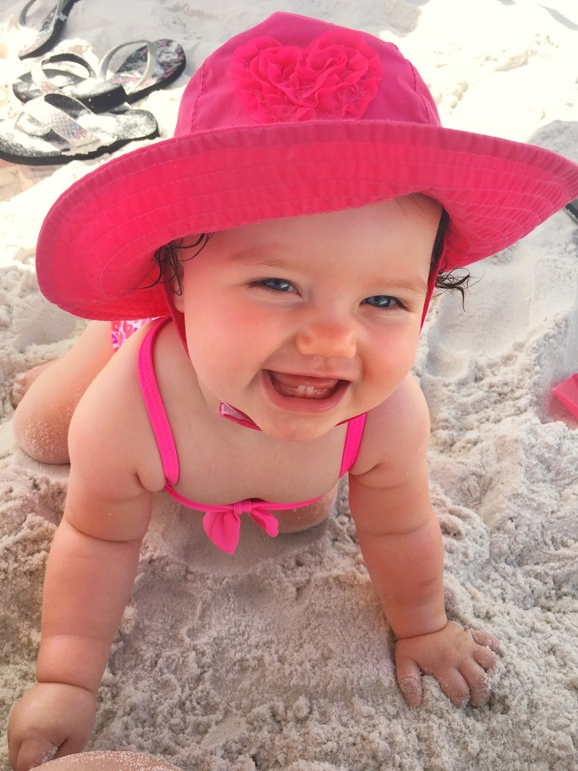baby loves beach